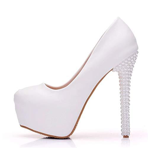 YAN Women es Stiletto Schuhe PU Fashion High Heels Dance Schuhe Platform Schuhe Imitation Pearls Heel Dress Schuhe Hochzeit Party & Evening,White,40 -