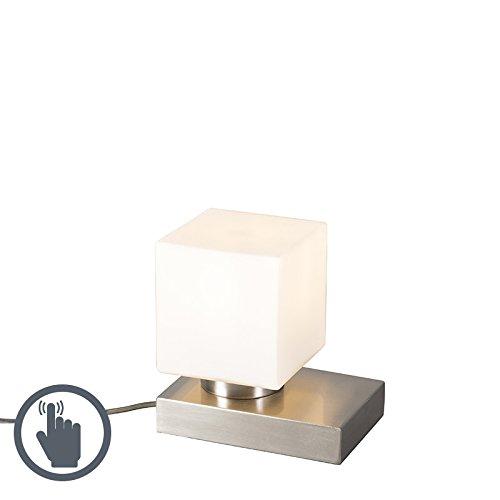 QAZQA Modern Schreibtischleuchte/Tischleuchte/Büroleuchte/Tischlampe/Lampe/Leuchte Stol Stahl/Silber/nickel matt quadratisch mit Touchfunktion Touch-funktion/Innenbeleuchtung/Wohnzim (Eine Nickel-tischleuchte Auf)