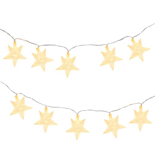 MoKo Star String Lights, 5m/16ft 40 LED Waterproof Star Lights, 2 Lighting Modes, Battery Powered Flash Light for Halloween Christmas Weddings Birthday Family School Parties Décor - Warm White