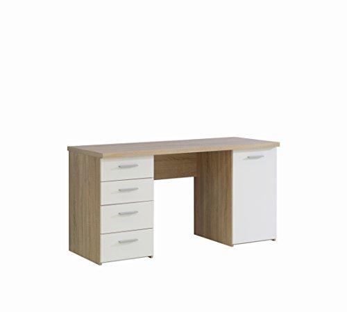 NEWFACE  Schreibtisch mit 4 Schubkästen und 1 Tür, Holz, Sonoma Eiche Dekor + Weiß, 145 x 60 x 76.3 cm - Eiche Holz Türen