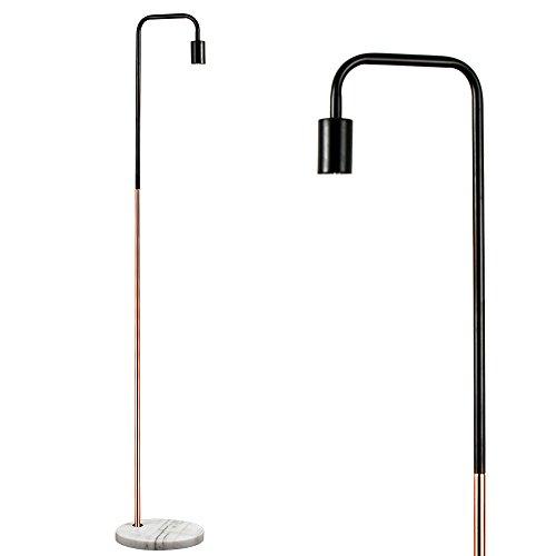 MiniSun Lampadaire 'Talisman'. Aspect Rétro - Design Classique en Combinaison de Noir & Cuivre avec Pied en Marbre Gris & Blanche