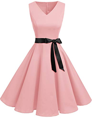 29dd639b1f18 Bridesmay Donna Anni  50 Abiti Vintage V-Neck Retro Cocktail Audrey Vestito  Pink L