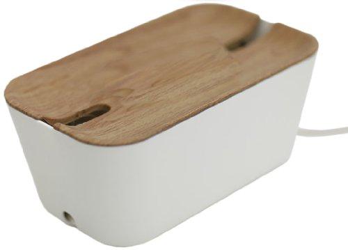 Bosign Kabelbox und Ladestation Kabelorganisator Hideaway - M Medium, 30 x 18 cm, h 13,8 cm, Anti-Rutsch-Abdeckung, Lüftungsöffnungen und feuerfestem Material, dekoratives Aussehen - in Weiß/Natur -