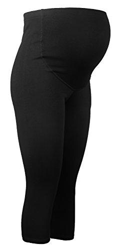 Umstandsleggings 3/4 schwangerschaft Hose sport für Schwangere Capri Leggings Schwarz XL (Capris Flache Schwarze)