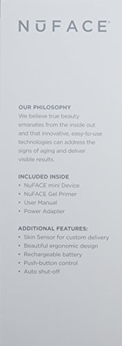 Nuface Mini Facial Toning Device – White Nuface Nuface Mini Device, 2oz Gel Primer – All Skin Types, Power Adapter, User Manual 3 Pc Kit Unisex