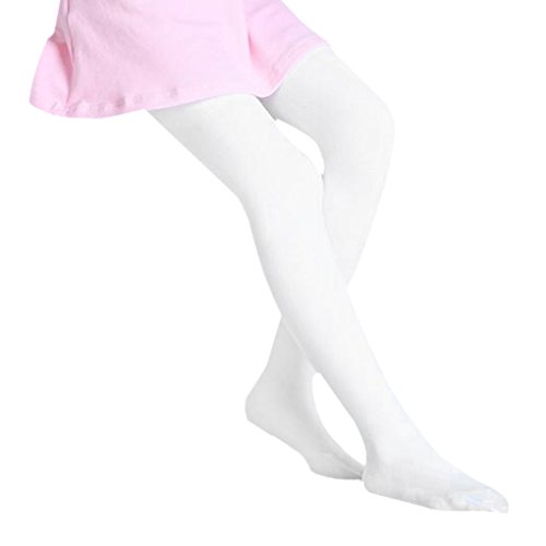 Girls Winter Warm Cotton Skin-Tight Leggings Footed Pantyhose Solid Colored Seamless Opaque Tights Thermal Dance Tights Stockings for Kids 3-12 Years