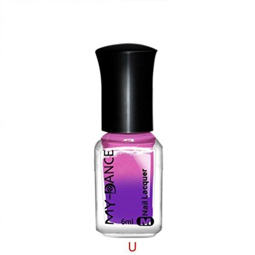 TPulling Thermische Nagellack Farbe Farbe Maniküre Pigment ändern Schale aus Lack Schönheit sexy Kosmetik (U) -