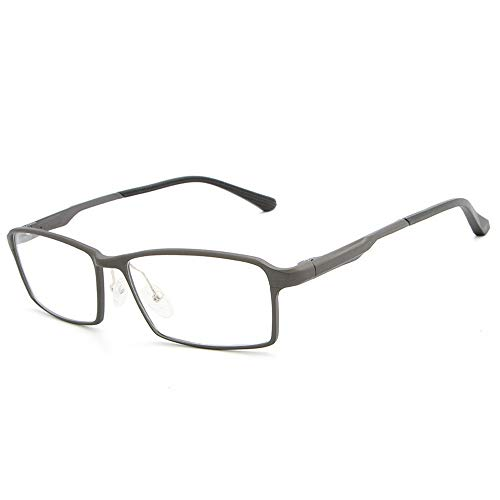 Gläser Einfache Gläser Männer Metall Ultraleichte Flache Spiegelglasrahmen Mode Gläser Brillen (Color : Dark Sliver, Size : Kostenlos)