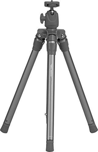 Rollei Compact Traveler Star S3 Plus - Reisestativ mit integriertem Kugelkopf und umkehrbarer Mittelsäule für Makroaufnahmen, inkl. Stativtasche - Anthrazit