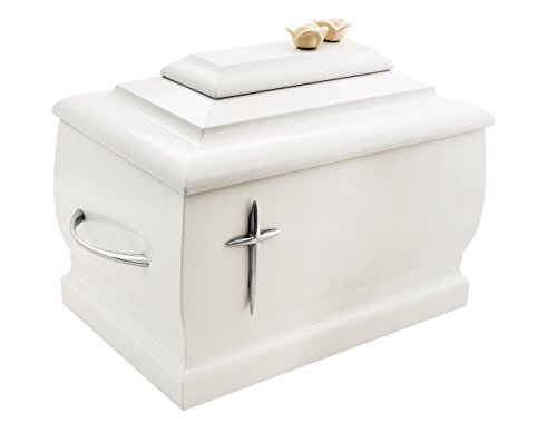White Casket Solid Wood with Silver Cross and Roses Funeral Cremation Ashes Urn for Adult (207c)