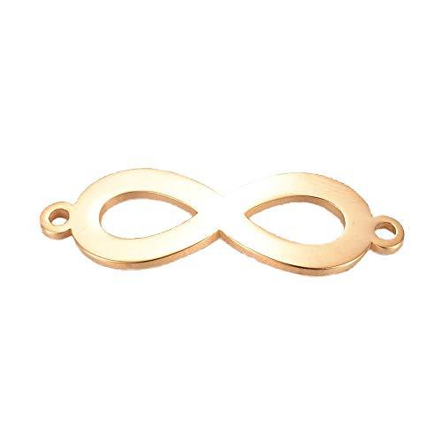 Sadingo Edelstahl Schmuckverbinder Infinity - 28,5 x 9,5 x 1 mm - 1Stück - Farbe wählbar - Schmuck basteln wie Armbänder, Farbe:Gold