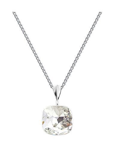 **Beforya Paris** Square White Opal - Echt Silber 925 - Tolle Halskette - Silber 925 - Schön Damen Halskette mit Silberkette von Swarovski Elements (Crystal) (Swarovski Halskette Square Crystal)