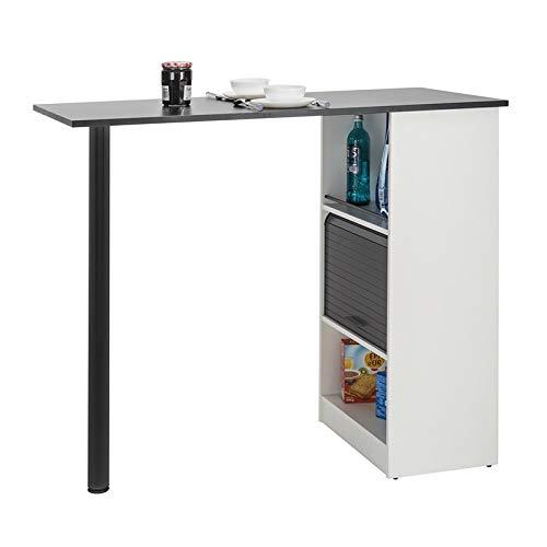 Tousmesmeubles Table comptoir de Cuisine Blanc/Noir - FAYTOU - L 130 x l 58 x H 107 - Neuf