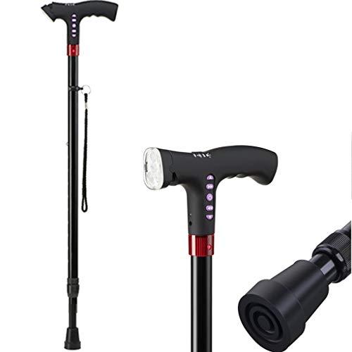ENDJYO Smart Walking Stick, LED Cane Gehstock Höhenverstellbarer Faltstock Mit Schwenkbarer Quad Cane Base Tip Für Männer Und Frauen,B - Faltbare Cane Quad