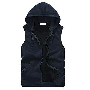 YCQUE Männer Unterhemden Mode Herbst Winter Täglich Mantel Gepolsterte Solide Tanktops Baumwolle Reißverschluss Weste Mit Kapuze Dicke Weste Tops Jacke Bluse Mit Tasche