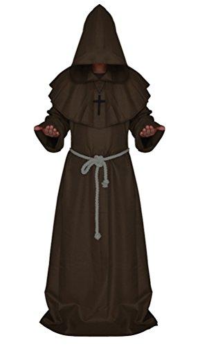 Tiny Time Friar Mittelalterlich Kapuzenmönch Renaissance Priester Robe Kostüm Cosplay (XXL, (Mittelalterlichen Kostüme Mönch Die)