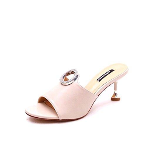 ALUK- L'Europe et les États-Unis - les sandales sauvages se forment de haut niveau avec des chaussures de pantoufles simples ( Couleur : Off white , taille : 37-Shoes long235mm ) Off white