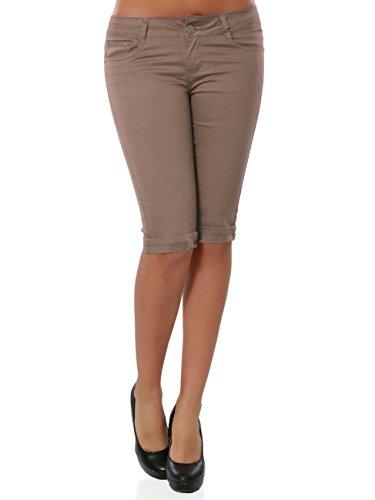 Damen Capri Hose Kurze Sommerhose Stoffhose Knielang No 15888, Farbe:Schoko, Größe:XL / 42