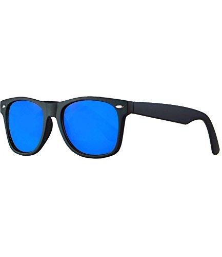 caripe Wayfarer Retro Nerd Vintage Sonnenbrille verspiegelt Damen Herren- SP (schwarz gummiert - blau verspiegelt-polarisiert)