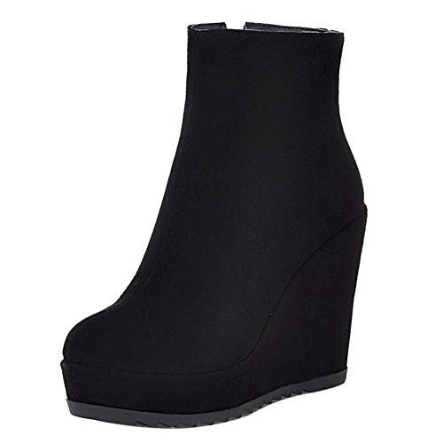Coolulu Damen Plateau Keilabsatz Stiefeletten High Heels mit Reißverschluss Ankle Boots Herbst Winter Schuhe (Schwarz,39) -
