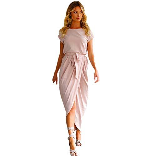 Oliver Kostüm Twist Mädchen - BHYDRY Frauen Boho Lang Maxi Kleid Abend Party Strandkleider Sommerkleid(Large,Rosa)