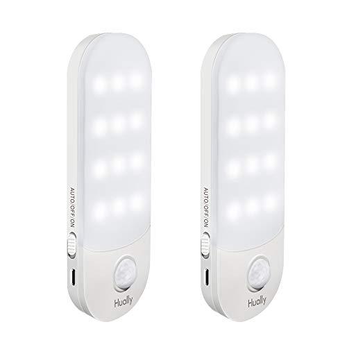 LED Nachtlicht mit Bewegungsmelder,Hually LED Licht [2 Stück] USB Aufladbare Nachtlampe Schranklicht mit 3 Modi (Auto/ON/OFF),Praktischer eingebauter Magnet Orientierungslicht für Küche,Stair,Flur usw -