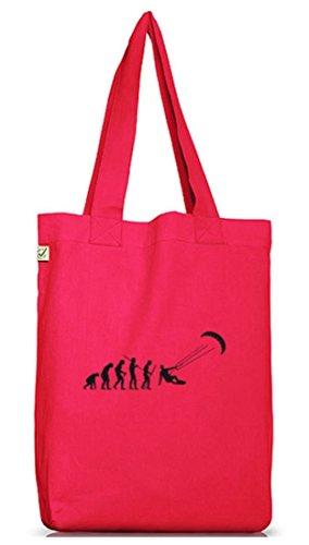 Shirtstreet24, EVOLUTION KITESURFEN, Kitesurfer kiten Jutebeutel Stoff Tasche Earth Positive Hot Pink