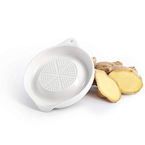 Zonster 1PC Porcelana Rallador De La Placa para Ginger, Blanco, 4 Pulgadas, Ajo Y Cebolla