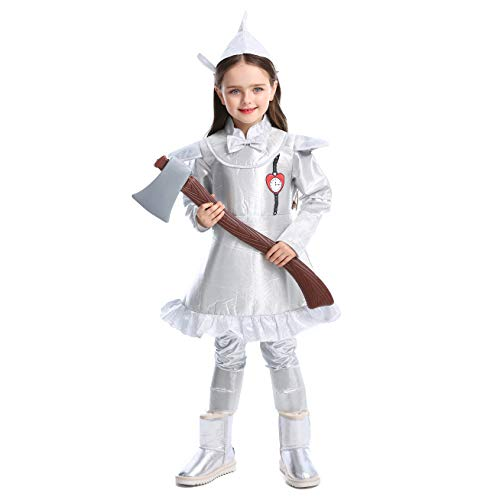 LOLANTA Kind Mädchen Wizard of Oz Kostüm Tin Man Outfit befestigen Axt Halloween Silber Kostüm (Oz Zauberer Von Kostüm Vogelscheuche Aus Der)