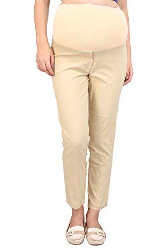 MomToBe Women's Linen Maternity Trouser, Biege