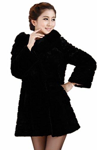 Queenshiny Damen Frauen lange Kaninchen-Pelz-Mantel-Jacke mit Fuchskragen Schwarz