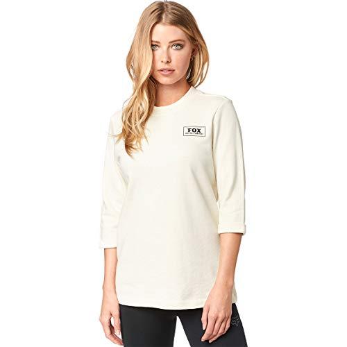Fox Damen Heater 3/4 Crew Fleece Sweatshirt, Knochenfarben, Groß Classic Crew Fleece Sweatshirt