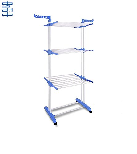 Kumaka Full Size, Heavy Duty Double Pole Cloth Drying Stand, Laundry Rack Stand Weight Carrying Capacity Above 40 Kg