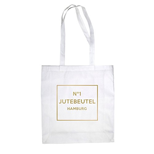 No1 - Jutebeutel - Hamburg - von SHIRT DEPARTMENT Weiss-Gold