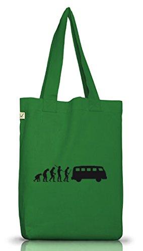 Shirtstreet24, EVOLUTION KULT BUS, Jutebeutel Stoff Tasche Earth Positive Moss Green