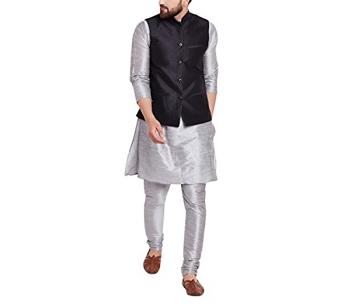 Sojanya Men's Cotton Dupion Silk Nehru Ethnic Jackets (SJR-209-44_Black_XX-Large)