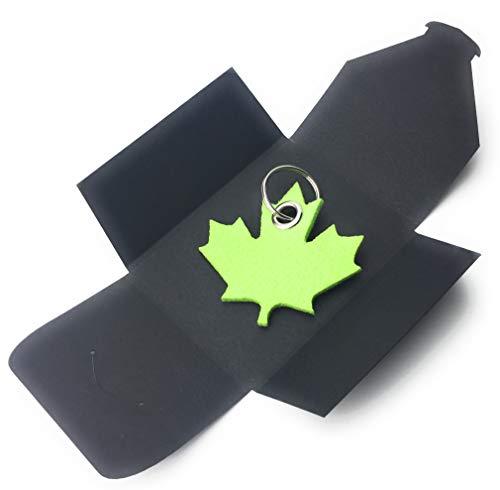 filzschneider Schlüsselanhänger aus Filz - Ahornblatt - Kanada - lind-grün/hell-grün - als besonderes Geschenk mit Öse und Schlüsselring - Made-in-Germany