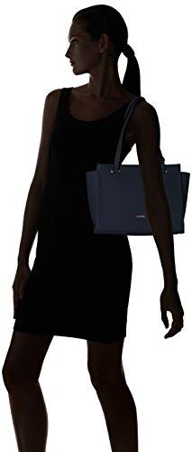 L.CREDI Damen Yvonne Henkeltasche, 13x24x36 cm Blau (Marine)
