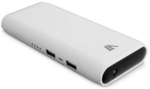 V7 PB11000-2-20E Powerbank 11000 mAh externer Akku Lithium Ionen Smartcharge Technologie mit zwei USB-Anschlüssen (2.1A und 1A) Weiß glossy