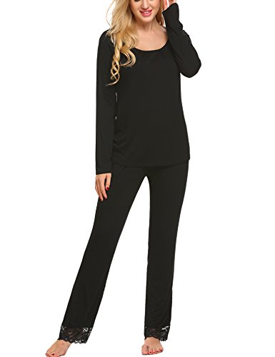 Hotouch Damen Pyjama Sets Nachtwäsche Pjs Baumwolle Top & Long Plaid Bottoms Loungwear Pj Set Mittel Schwarz -