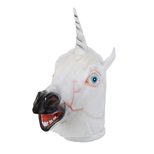 Durobayuusaku Weiß Halloween-kreative lustige Einhorn-Pferdekopf Latexmaske für eine verrückte ()