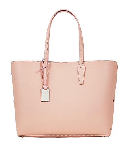 TAMARA Shopper Borse Donna Borse Tote Vera Pelle Made in Italy Lavorazione Artigianale Rosa chiaro