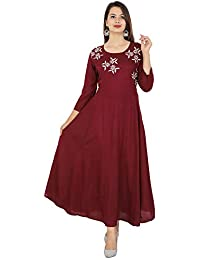 Cottonwalas Women's Rayon Embroidered Ankle Length Anarkali Kurti (Maroon)