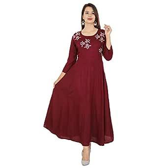 Cottonwalas Women's Rayon Embroidered Ankle Length Anarkali Kurti (Maroon-XS)