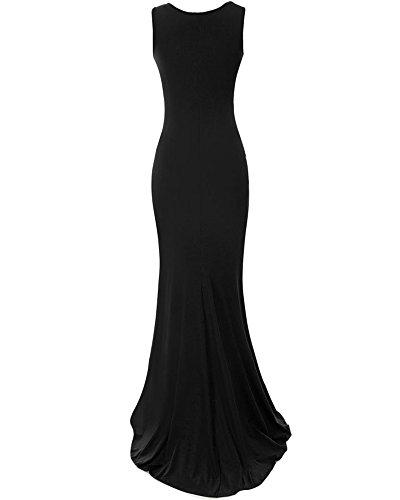 Elegante Donna Vestito Senza Maniche Lunghe Tubini Lungo Abito Da Sera Nero