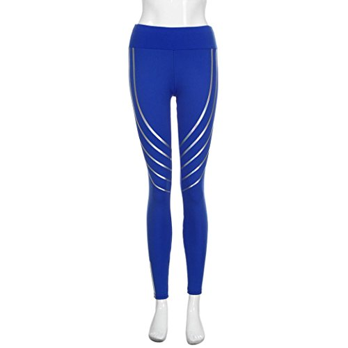 Pantaloni Yoga, Oyedens Donne Stampate Sport Yoga Moda Pantaloni Allenamento Palestra Athletic Fitness Esercizio Leggings Atletico Pantaloni Tuta Donna Pilates Loose Fit Jogging Blu