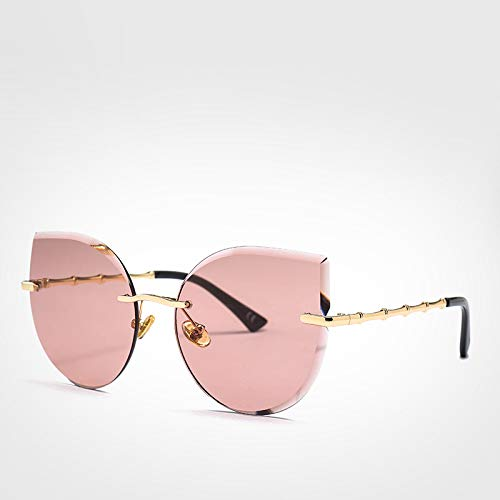 LXXSSRA Sonnenbrille Coole Damen Sonnenbrille Cat Eye Fashion Driver Brille Mädchen Rosa Randlose Sonnenbrille Damen Uv400 Braun Sonnenbrille