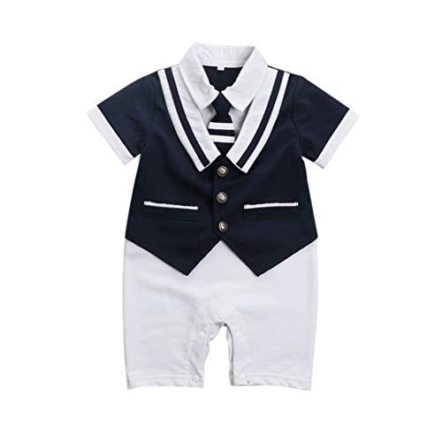 ALLAIBB Infant Baby Jungen Outfit Kurzarm Gentleman Strampler Sailor nautischer Overall (Color : Dark Blue, Size : 90) -