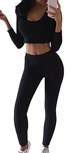 Bevalsa Damen Sport Yoga Outfit U-Ausschnitt Langarmhemd Plus Jumpsuit Hut + Fest Leggings Sexy Pullover Sportanzug Trainingsanzug Rundhals (3-teiliges Samt-anzug)