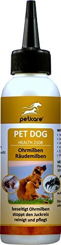 Peticare Ohren-Lösung bei Ohrmilben für Hunde - Wirksames Pflege-Mittel gegen Milben, Ohrräude, stoppt Juckreiz am Ohr, lindert Entzündungen, 100% natürlich - petDog Health 2108 (250 ml) -
